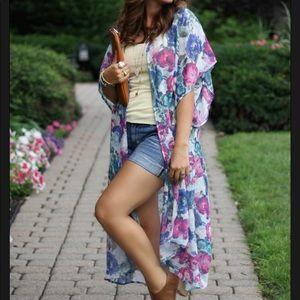 Tops - Long Floral Kimono One Size